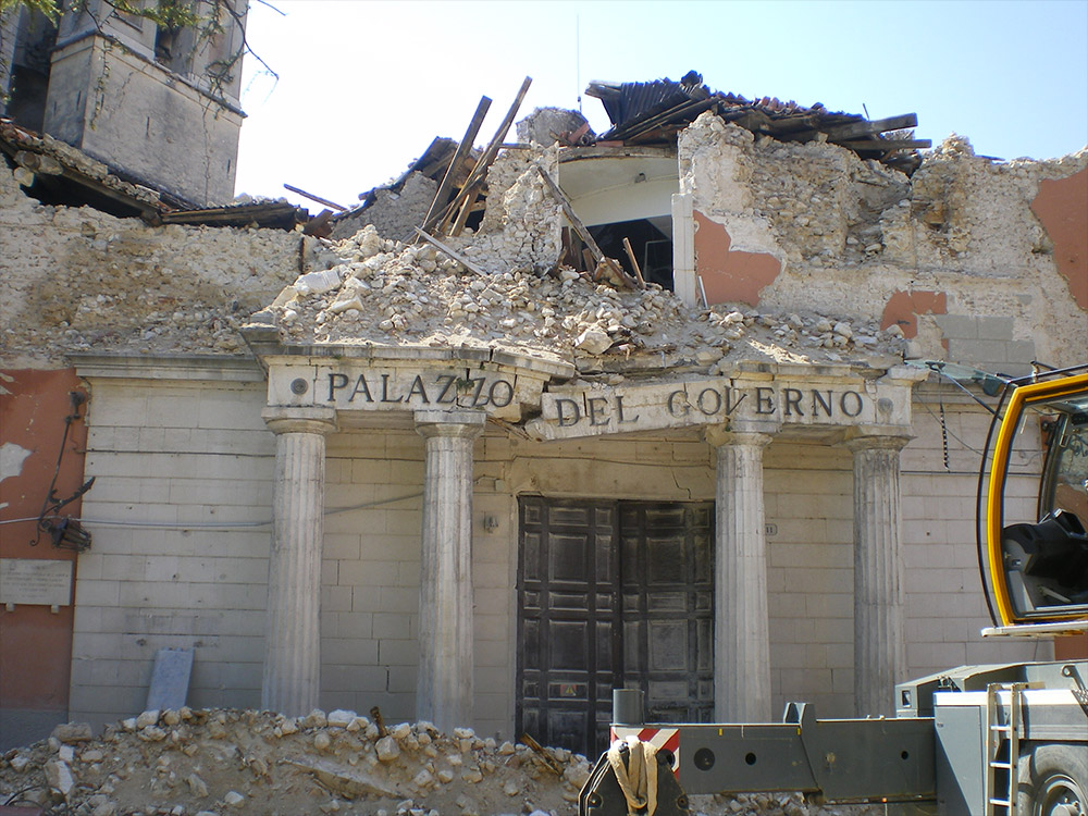 L'Aquila, Abruzzo, Italy. A government's office disrupted by the 2009 earthquake.